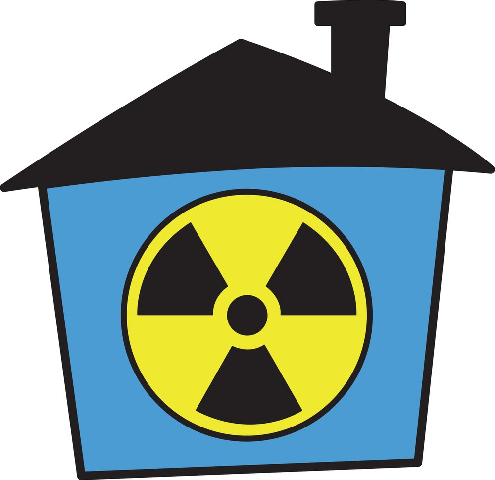 Radon test in the basement of a home.